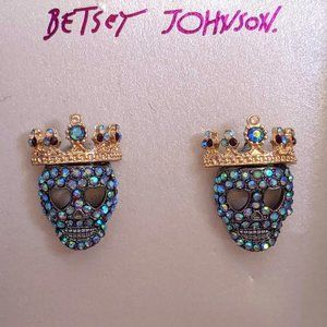 NWT Betsey Johnson Blue Pave Skull Crown Earrings